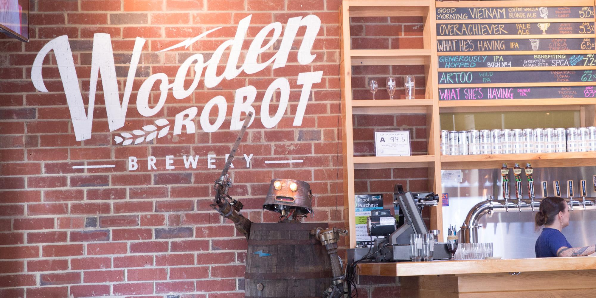 Wooden Robot Interior Signage